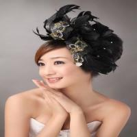 Exquisite Tuller and Black Feather Beaded Artificial Flower Heads (TH-111) Manufactures