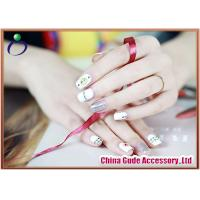 China Beautiful Artificial Girls' 3D Fake Nails , gold foil-effect and bright white on sale