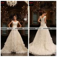 Buy cheap Lastest V-neck Cap Sleeve Ball Gown White Organza Wedding Gown Designs 2014 from wholesalers