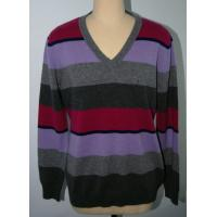 Buy cheap V Neck Pure Merino Wool Stripe Men Knit Sweater Pullover  Classic Fitting Spinning 2/28nm Yarn from wholesalers