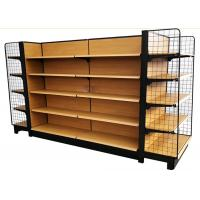 Wholesale wooden grain metal shelves grocery store double side supermarket shelf with 65 kg capacity from china suppliers