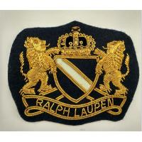 Handmade Bullion Wire Embroidery Anchor Shape Patch With Lion Blazer Crest Patches Manufactures
