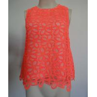Buy cheap Coral crochet flower lace sleeveless top Ladies Fashion Clothing red color from wholesalers