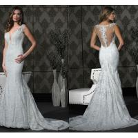 Buy cheap Mermaid V-neck Sheer Lace Womens Wedding Dresses with Flower Applique Court Train from wholesalers