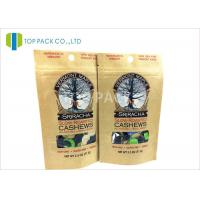 OEM Brown Kraft Paper Stand Up Pouch Packaging Roasted Cashews , Flat bottom Manufactures