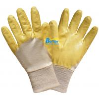 Buy cheap 100% Cotton Interlock Shell With High Quality Yellow Lightweight Nitrile Coated Work Gloves from wholesalers