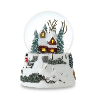Buy cheap 100mm Winter house Christmas Polyresin Lighted Musical Snow Globes from wholesalers