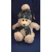 Buy cheap Soft Velboa Plush Toy White Bear Wearing Hat and Neck Warmers Size 15cm to 50 cm from wholesalers