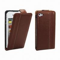 Wholesale PU Leather Mobile Phone Cases for iPhone 4, RIM's BlackBerry 811, Available in Various Colors from china suppliers