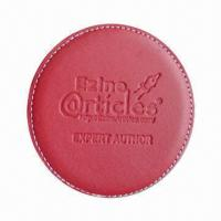 Wholesale Leather Coaster, Available in Red or Black, Size of 0.5-inch from china suppliers