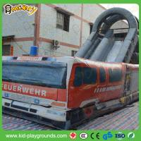 fire fighting truck double slided inflatable water slide, adult size jumping slider, slide inflatable zip line Manufactures