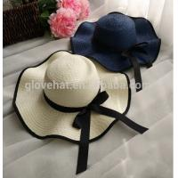 China trim d35cm 100%polyester inner Dia 20cm summer women cheap straw sun hats for sale on sale