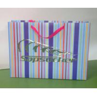 Buy cheap Colorful Trendy Paper Shopping Bags / Gift Tote Bags / Clothes Packaging Bags With Ribbon Handle from wholesalers