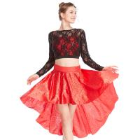 Buy cheap MiDee 2 Pieces Lace long Sleeves Sequined Dance Costume Latin Lyrical Dress from wholesalers