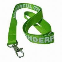 Wholesale Promotional Green Lanyard with Foam Printed Logo, Made of Nylon, Measuring 45 x 1.5cm from china suppliers