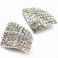 Buy cheap Rhinestones Decorated Stud Earrings, Made of Metal Alloy, OEM Orders are Welcome from wholesalers