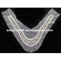 Buy cheap White And Clear Beaded Neck Trim V Shape For Black Long Sleeved Dress from wholesalers