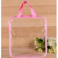 Buy cheap Heat Seal Transparent PVC Swim Bag , Cosmetic Piping Plastic Zipper Pouch With Handle from wholesalers