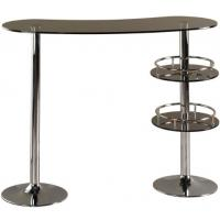 Buy cheap European Glass Outdoor Pub Table Tall Fashionable With 2 Metal Legs from wholesalers