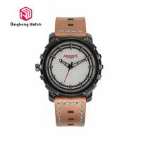Buy cheap Unique Sport Waterproof Stainless Steel Back Cover Mens Leather Strap Wrist Watches from wholesalers
