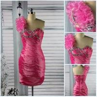 Beautiful One Shoulder Sheath Short Sexy Beaded Flower Satin Peacock Prom Dress (PD-001) Manufactures