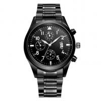 China IP Black Plated Stainless Steel Strap Watch With Chronograph Feature on sale