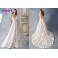 Buy cheap Embroidered Allover Lace Princess Bride Wedding Dress 3D Flower Placement Net / Organza from wholesalers