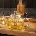 Buy cheap High Borosilicate Heat Resistant  Pumpkin Glass Teapot w/ Infuser Flower/Green Tea Pot from wholesalers