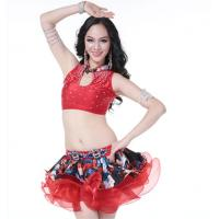 Buy cheap Red Latin Dance Costume With Diamond Inlay For Dancing Girl from wholesalers