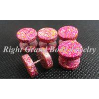Wholesale 12MM Fake Plug Earrings With 316L Surgical Steel Pink Paint from china suppliers
