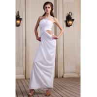 Buy cheap Trendy Sheath White Girl Long Evening Party Dresses with Beaded , One Shoulder Ruffle Design from wholesalers