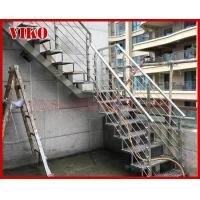 Buy cheap Steel Cable Stair VK98SC 304 Stainless Steel Railing   Carbon Powder-coate  Wooden Handrail Treed Beech Aluminum from wholesalers