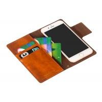 Wholesale Handmade Brown Leather Flip Wallet Case / Iphone 8 Plus Leather Case Custom from china suppliers