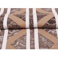 Buy cheap 100% Nylon Stretch Lace Fabric Khaki Color , Cutting Lace Fabric For Uniform / Coated from wholesalers