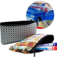 Wholesale Office Neoprene Pencil Case Pouches Plaid Silk Printed Pattern , Novelty  from china suppliers