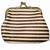 Buy cheap Coin Purse, Made of Cotton with Horizontal Stripe Printing and Round Metal Buckle from wholesalers