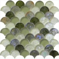 Grey green mix water waving glass mosaic Manufactures