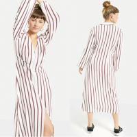 Buy cheap 2018 New Arrival Fall Long Sleeve White and Red Striped Zip Front Sex V neck Midi Dress Ladies Autumn from wholesalers