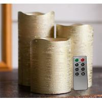 Buy cheap Battery Operated Gold Metallic Wax Led Candles With Rustic Golden And Silver Color from wholesalers