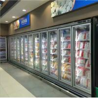 Buy cheap Seafood / Meat Supermarket Glass Door Merchandiser Freezer With Fan Cooling from wholesalers