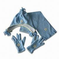 Buy cheap Anti-pilling Fleece Winter Hat with Gloves and Scarf, Made of 100% Polyester from wholesalers