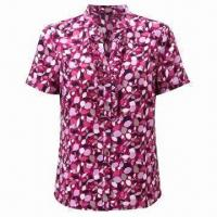 Buy cheap Ladies' Casual Blouse/Top/Shirt with 100% Poly Printed Fabric, Open Neck, Collar Stand and Ruffles from wholesalers