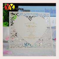 Buy cheap Brown Laser cut thank you cards with printed words heart shape from wholesalers