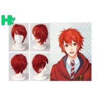 Charming Wigs Synthetic Hair Short Wavy Red Synthetic Cosplay Wigs Costume Party Wigs Cap Manufactures
