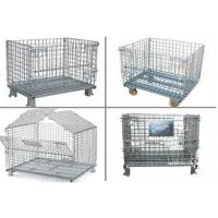 Wholesale Collapsible Metal Pallet Cage , Steel Wire Pallet Storage Cage U Type Hand from china suppliers