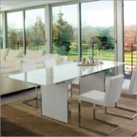 Buy cheap Extending White Tempered Glass Dining Room Set from wholesalers