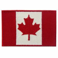 Buy cheap Canda Sew On Iron On Flag Patches Embroidery , Washable 3D Clothing Brand Patches from wholesalers