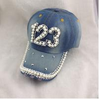 Buy cheap new fashion denim baseball hat Pearl&Diamond Letter Sun caps Male or Female Outdoor sports from wholesalers