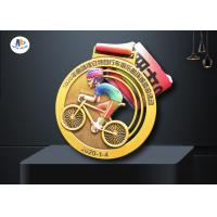 Buy cheap Stock Riding Medals Antique Brass Plating And Colorful Printing Relief Medailles Cut Out With Ribbon from wholesalers