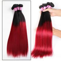 Buy cheap Soft 7A Ombre Brazilian Virgin Hair 1B / Red Ombre Straight Hair 3 Bundles For product